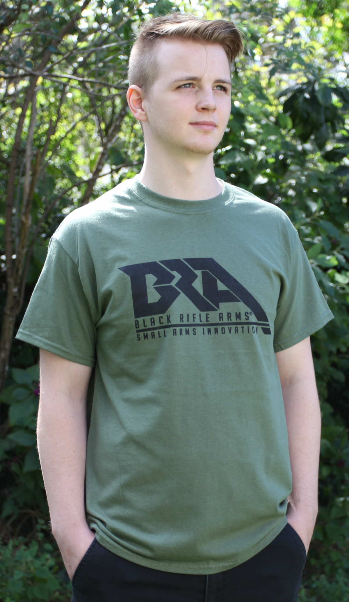 Black Rifle Arms Military Green Logo T-Shirt